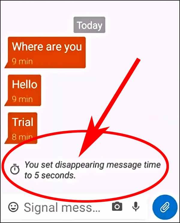Signal messagerie sécurisée (durée de vie des messages)