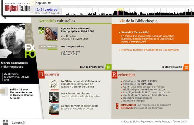 Capture d'écran du site de la BnF le 4 février 2005