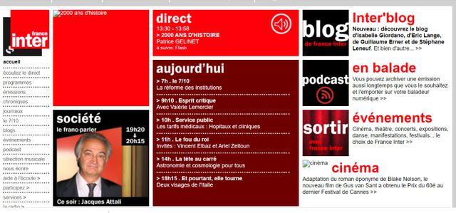 La homepage du site de France Inter le 8 janvier 2008